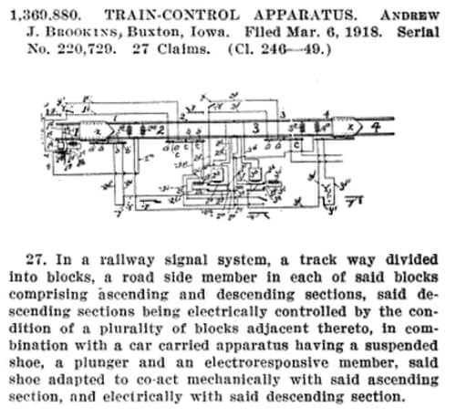 Train Control Apparatus Patented by Andrew Brookins 1918