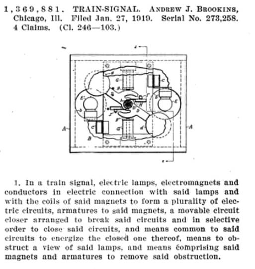 Train Signal Patented by Brookins 1918