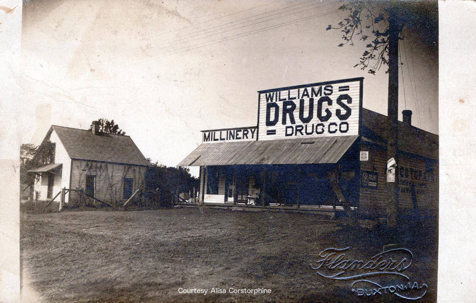 Millinery shop and Williams Drugs store
